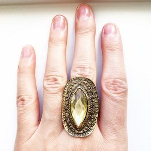 Gold tribal and yellow diamond knuckle ring
